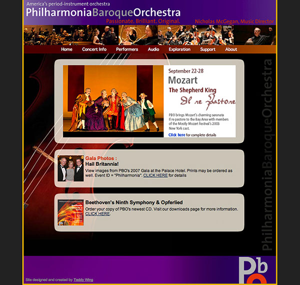 Philharmonia Baroque Orchestra home page