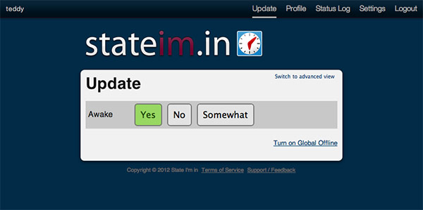 State I'm in update status page